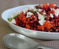 Beetroot and Carrot Salad with Feta and Pomegranate Molasses