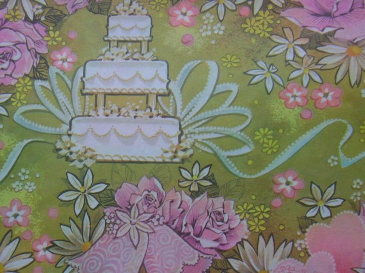 Vintage Wedding Gift Wrap 1970s Wrapping Paper