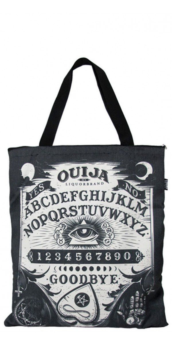 Anything but your basic tote, the Ouija Tote Bag will keep all your thing instyle. Made from a sturdy canvas, the handle will be able to handle anything you throw at them. Printed on both sides with an Ouija board print. Zippered at the top you'll be able to hold all your things without a fear of losing anything.