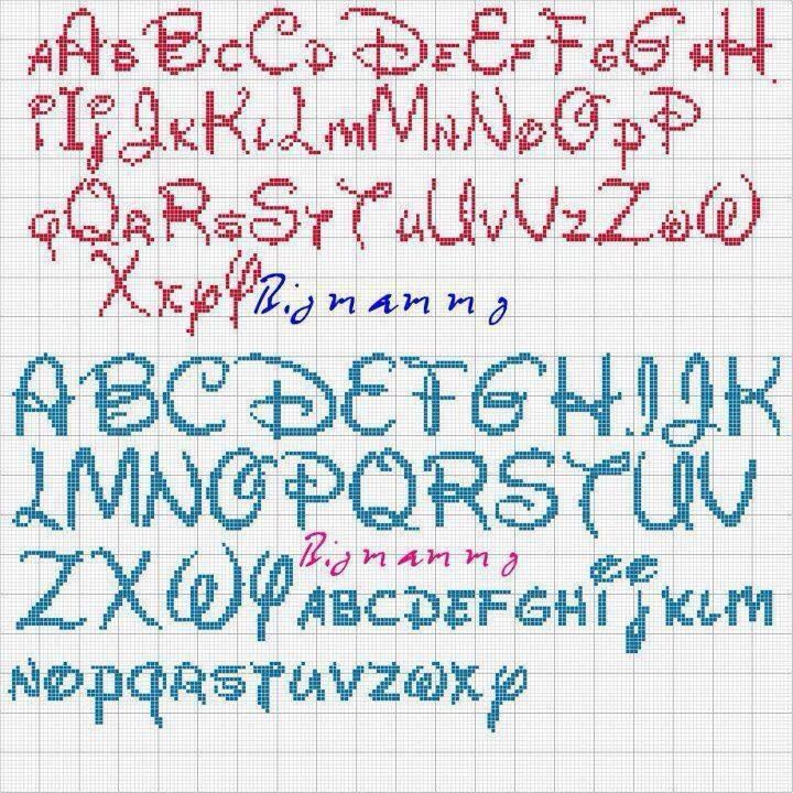 Alfabeto disney lettere punto croce