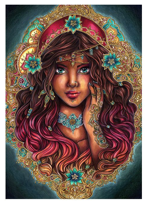 PRINT The Seer - Beautiful gypsy portrait indian pattern, turquoise, gold design, flowers, baroque background - Fine Art print by sakuems