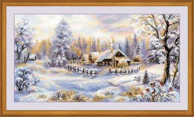 RIOLIS COUNTED CROSS STITCH KIT Winter Evening House Craft Needlework Decor