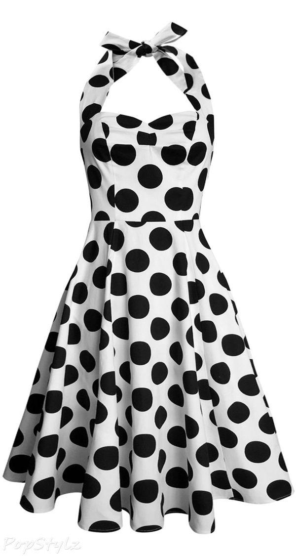 Anni Coco Vintage 1950s Halter Swing Tea Dress