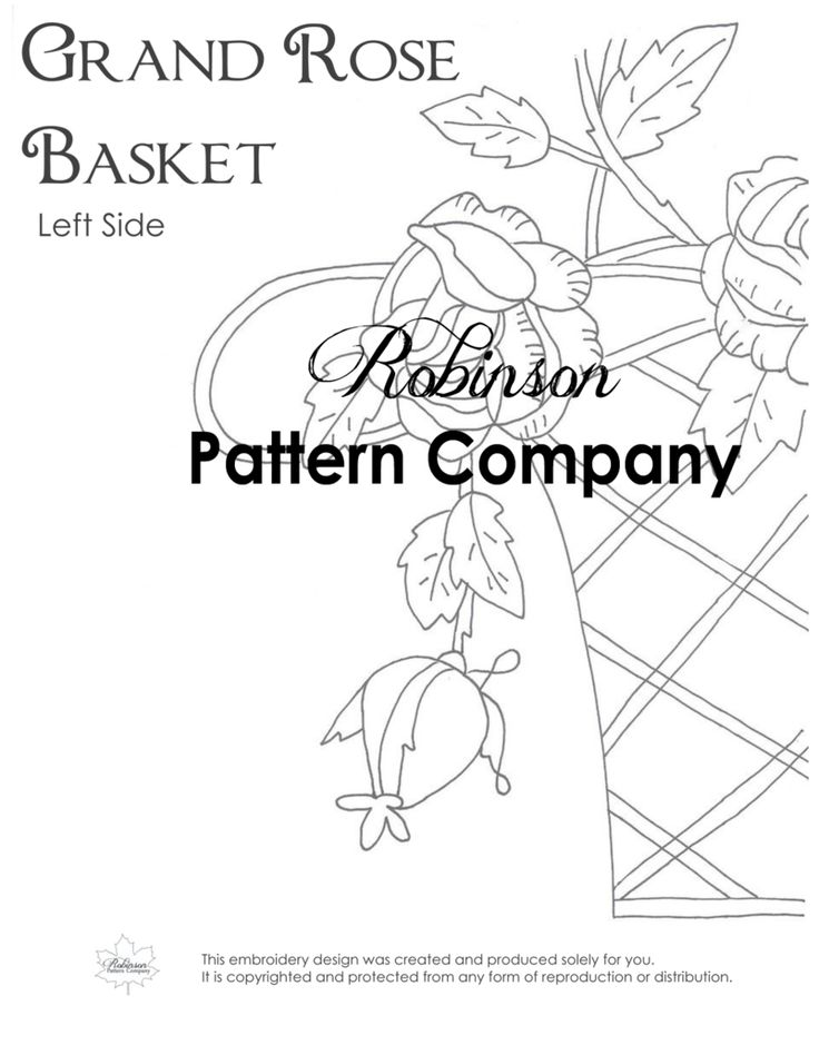 Grand Rose Basket Hand Embroidery pattern