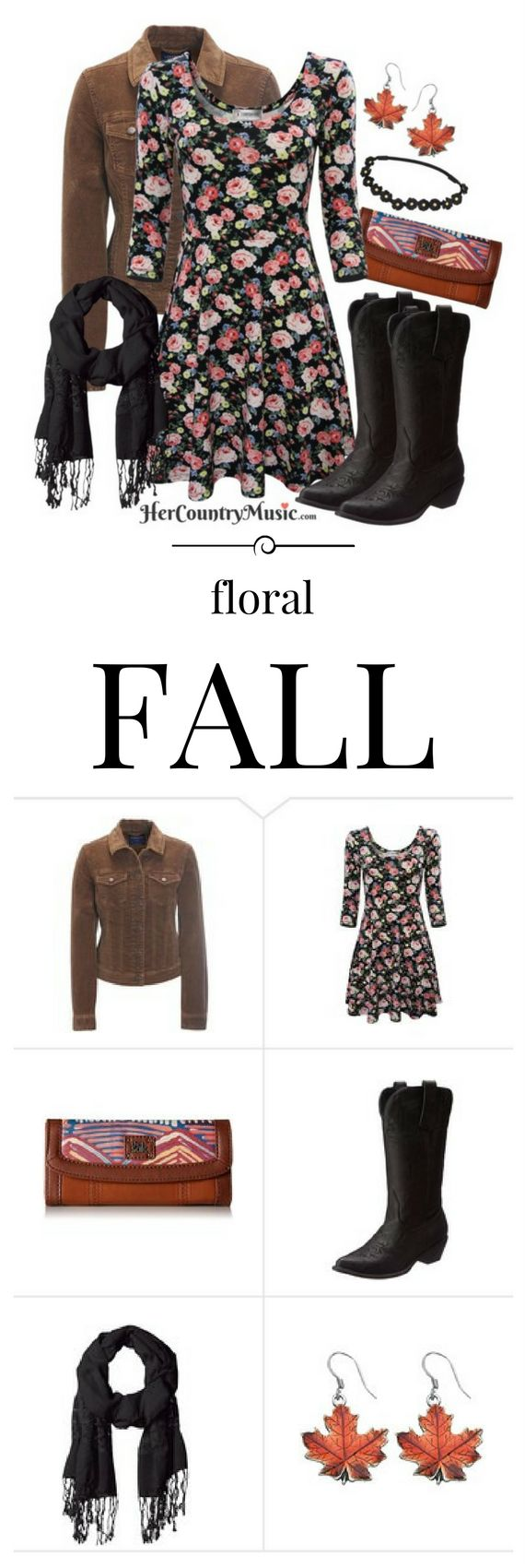 Country Music Outfit: Floral fall with black boots and fun floral dress.