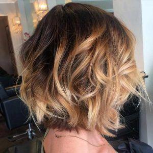 Golden Caramel Balayage Highlights on Bob Haircut