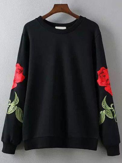 Black Rose Embroidery Round Neck Sweatshirt