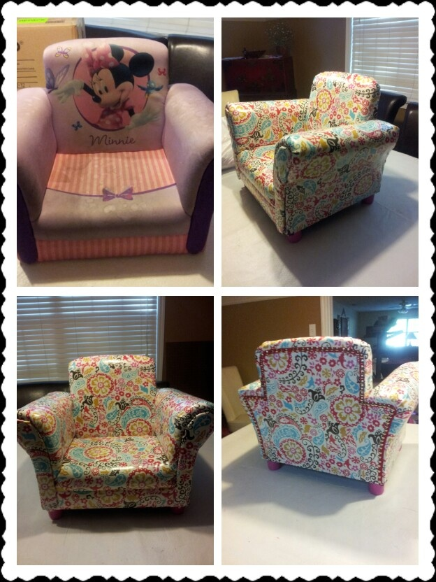 Reupholstered Toddler Chair in Wipe Clean Vinyl Covered Fabric :) Turned out so cute!!