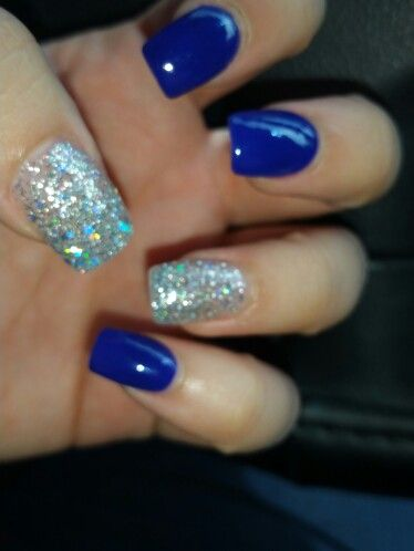 Fall mails cobalt blue glitter acrylic nails