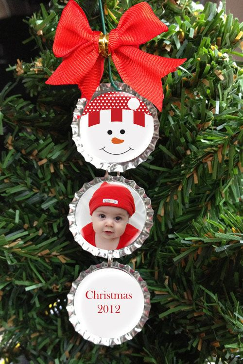 Custom Photo Snowman Bottle Cap Christmas Ornament - Personalized with YOUR Picture - Choice of 5 Colors. $6.00, via Etsy.