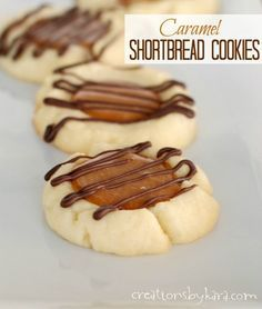 Creations by Kara: Caramel Shortbread Cookies with Chocolate Drizzle-- Seriously yummy cookies!