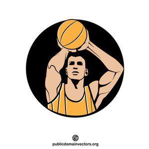 Basketball player clip art vector