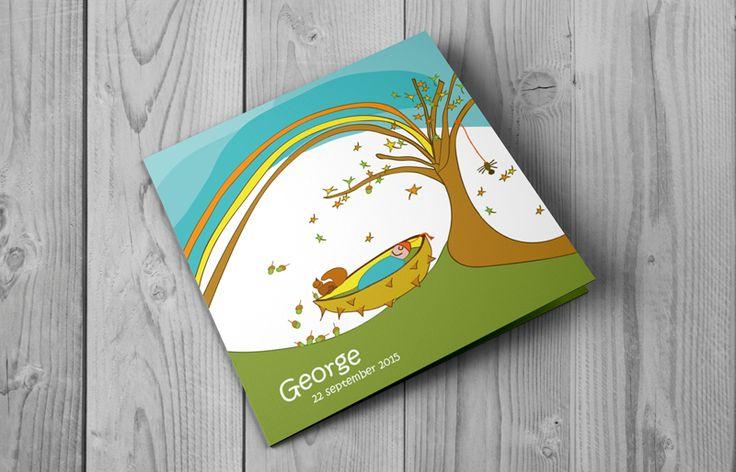 George | vrolijk geboortekaartje voor je herfstbaby | All in prijs :opmaak, proefdruk en  snel voor je verzonden | BrengOver Kaartjes