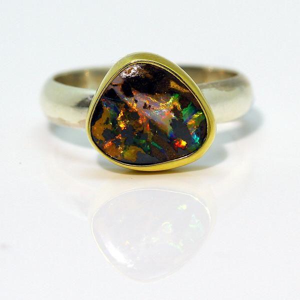 Boulder Opal Ring In Matrix Gold Sterling Silver In 2020 Boulder Opal Ring Boulder Opal Jewelry Opal Rings