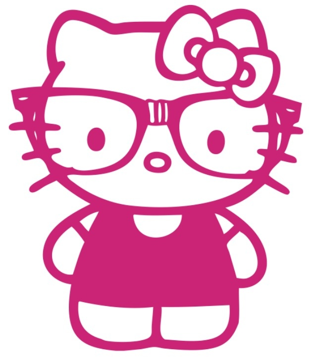 not a huge hello kitty fan but this is cute hello kitty like cute geek nerd glasses car window vinyl decal sticker you pick color - Coloring Pages Kitty Nerd