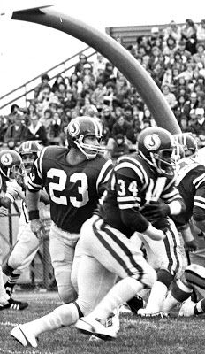 Early 1970's photo of Ron Lancaster (L) and. George Reed (R) at Taylor Field, Regina