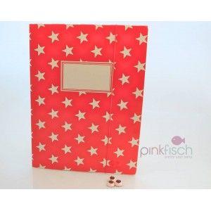 Mappe, A4, rot mit Sternen für hübsche Hausaufgaben