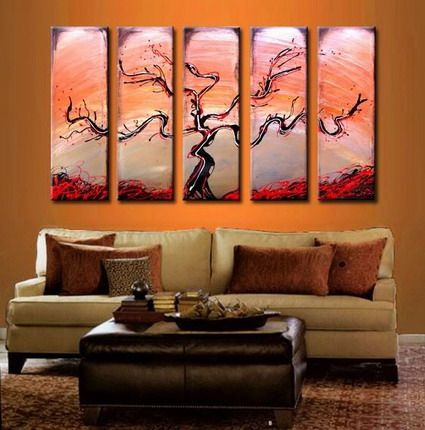 Elegant Abstract Tree Art Paintings Designs For Japanese Living Room Wall Decorating Ideas