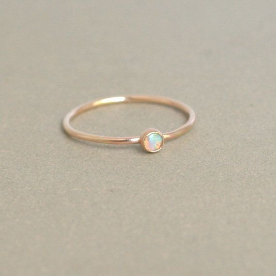 Gorgeous and Delicate Gold Opal Ring