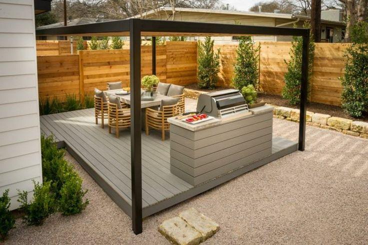 cuisine d'extérieur de design moderne avec terrasse