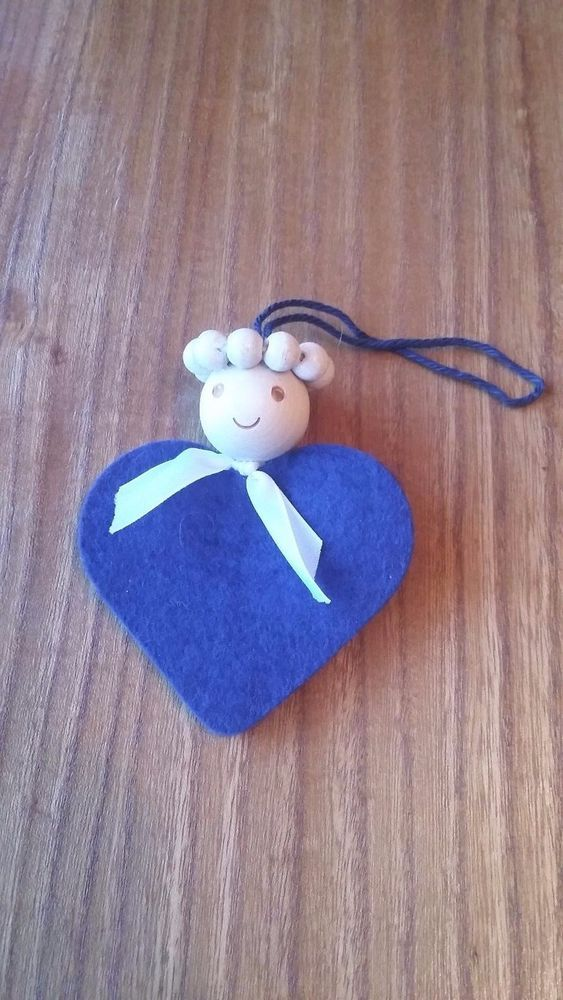 Aarikka Finland Vintage Christmas Angel Decoration Wood  Blue Felt