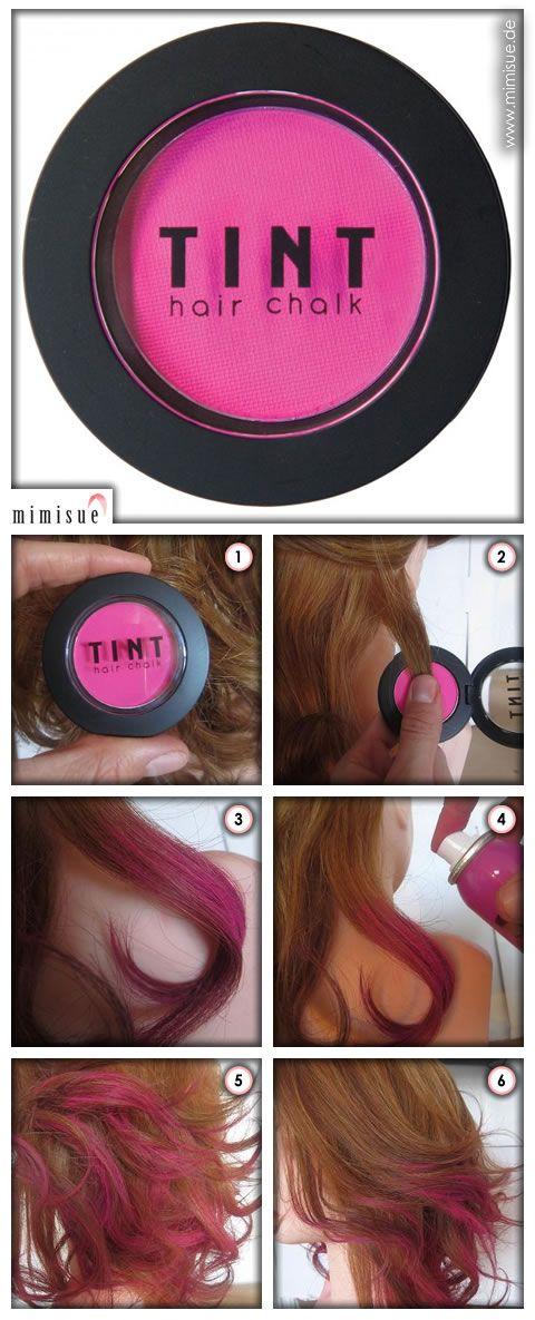 Wie ihr Farbe in euer Leben bringt? Mit TINT-Hairchalk-Haarkreide! Die Haarkreide gibt es in vielen verschiedenen Farbtönen und ihr könnt diese ganz einfach Strähne für Strähne auf die gesamte Haarlänge oder auch nur auf die Spitzen auftragen. http://www.mimisue.de/farbe/fine-featherheads/tint-hair-chalk