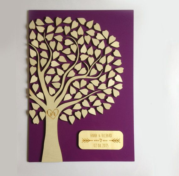 Alternative wedding Guest book tree personalized by Cut4you