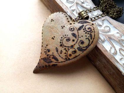 Pandantiv lemn pirogravat, by artTime, 30 Lei