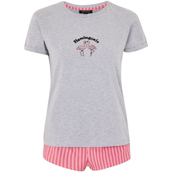 Topshop Flamingoals Embroidered Set (100 BRL) ❤ liked on Polyvore featuring intimates, sleepwear, pajamas, cotton pajamas, pink pjs, pink striped pjs, pink striped pyjamas and topshop pyjamas