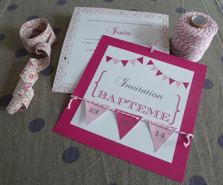 Création Sons et Chiffons : faire-part, invitation, baptême, fanions, baker twine rose, Liberty Eloise