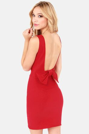 Christmas party dress? Bow Do You Do? Red Backless Dress at LuLus.com! #lulus #holidaywear