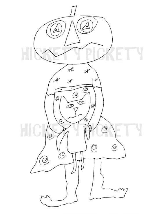 Stitchery primitif motif poupée citrouille chat noir Halloween Punch aiguille planche coloration téléchargement immédiat par comptine Pickety