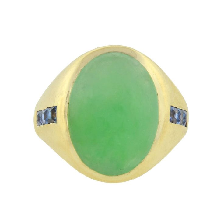 Bailey Banks & Biddle Jade Sapphire Gold Ring