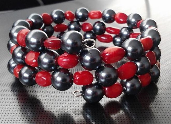 glass pearl and coral