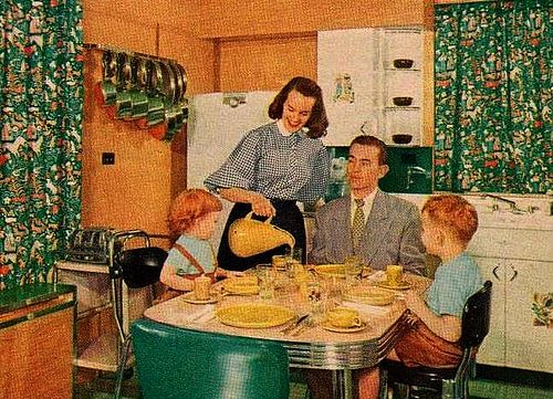 Kitchens of this era are galley or tight U-shaped with painted cabinets. A 1950s kitchen usually consists of a refrigerator (according to keepitcool.com, ...
