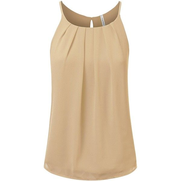 JJ Perfection Women's Round Neck Front Pleated Chiffon Cami Tank Top ($23) ❤ liked on Polyvore featuring tops, round neck top, chiffon tank, camisole tank, taupe tops and brown cami top