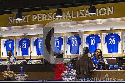 Shirt printing in the official FC Chelsea store. London