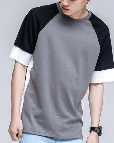Casual color block t shirt with side slits for teenage guys half sleeve