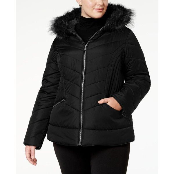Celebrity Pink Trendy Plus Size Faux-Fur-Trim Puffer Coat ($100) ❤ liked on Polyvore featuring plus size women's fashion, plus size clothing, plus size outerwear, plus size coats, black, puffer coat, faux fur trim coat, slim fit coat, plus size puffer coat and women's plus size coats