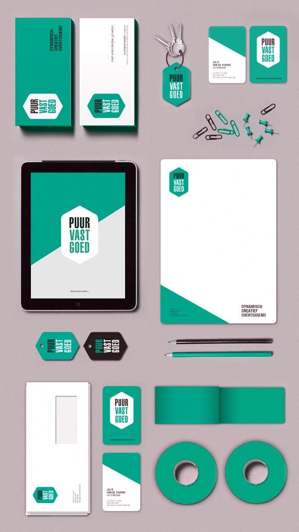 Puur Vastgoed Identity Design by Tim Bisschop-  I like the use of the simple color palette and hexagon as the logo shape  #print #Iprinthis #white #business #Australia #Melbourne #printing #company #envelope #flyers #stickers #coupons #stickers #tickers repined by IPrinthis