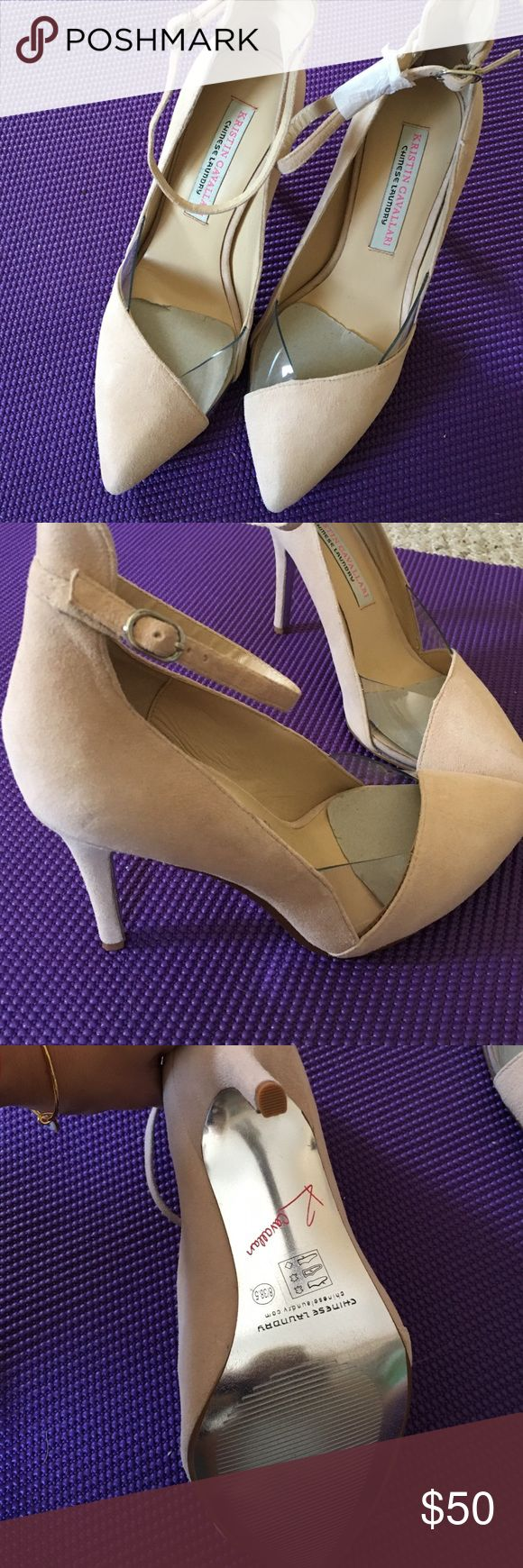 NWOT Kristin cavallari nude suede heels Nude suede with clear accent Chinese laundry heels, never worn Kristin cavalari chinese laundry Shoes Heels