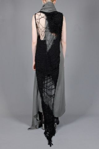 AREA DI BARBARA BOLOGNA love this textural couture knitted maxi dress and scarf, with a bit of freeform knit and crochet you could create one yourself , think outside the pattern box