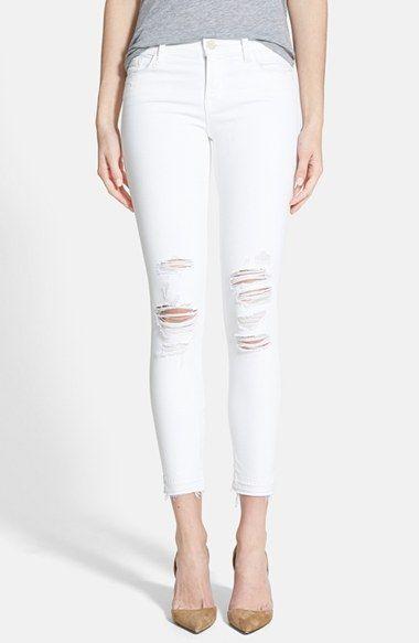 white distressed crop jean