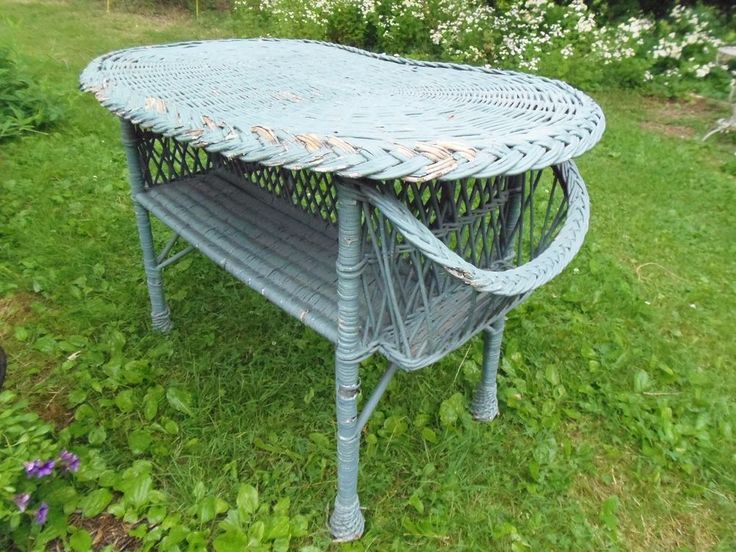 Victorian Bar Harbor Wicker Table with Magazine Side Pocket Holders  #Wicker #BarHarbor