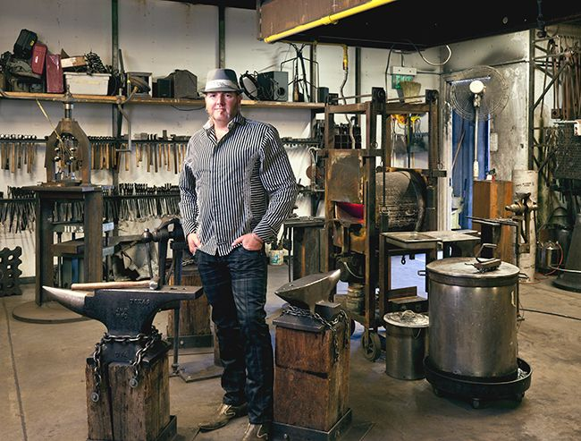 Steve Young, the executive director of the Crucible, is shown here in the blacksmithing studio. Oakland Made - Metropolis Magazine - July-August 2013