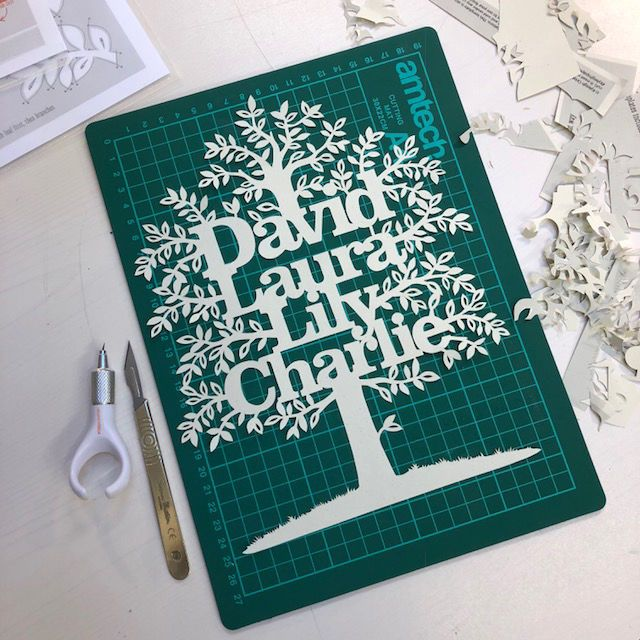 All finished! Here's the finished family tree cut by hand for my giveaway winner. Design copyright Kyleighs Papercuts 2018