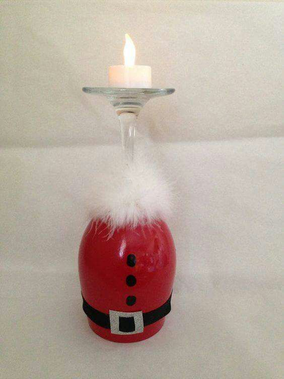 Wine glass Santa
