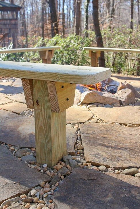 Diy Built In Fire Pit Benches So Simple Anyone Can Build These For Around A Fire Pit Or Around A Tree Pret In 2020 Fire Pit Bench Fire Pit Seating