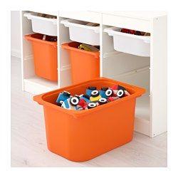 "TROFAST Storage combination with boxes, white, orange - 39x22 "" - IKEA"