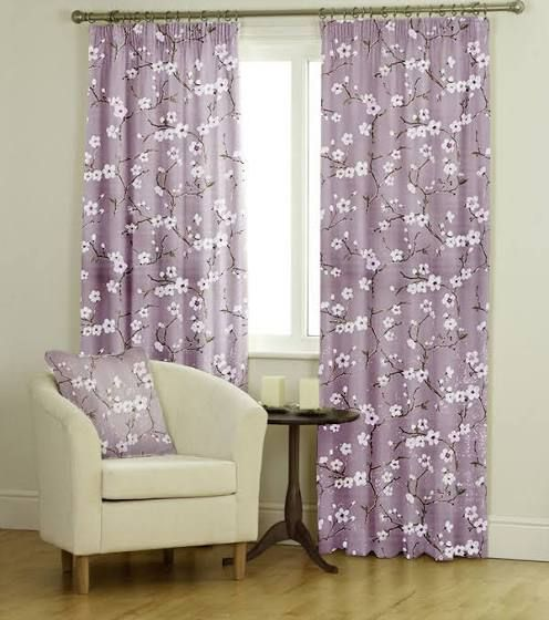 grey and pink pencil pleat curtains
